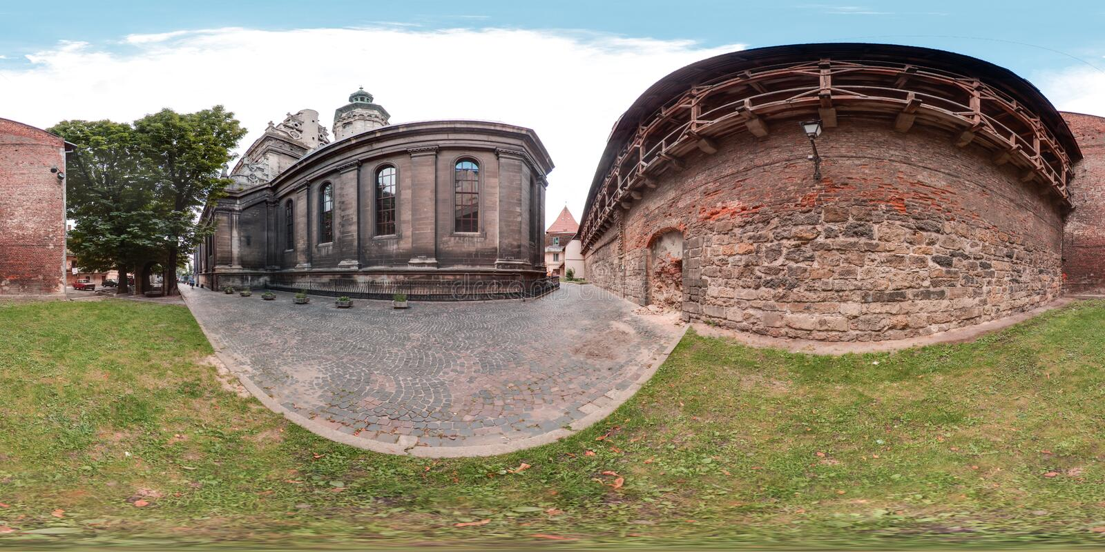 Lviv - summer, 2018: 3D spherical panorama with 360 degree viewing angle. Ready for virtual reality in vr. Full equirectangular pr royalty free stock images