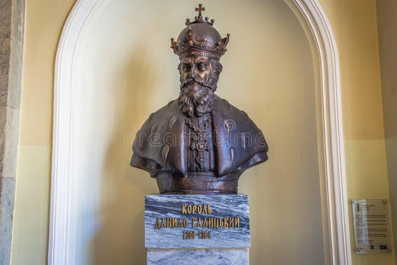 Lviv Town Hall. Lviv, Ukraine - June 15, 2017: King Daniel of Galicia sculpture in Lviv City Hall, danylo, romanovych, ruthenia, knyaz, lemberg, lvov, lwow royalty free stock photo
