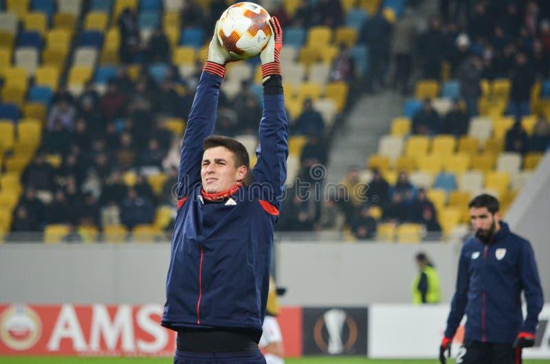 LVIV UKRAINA - December 07, 2017: Kepa Arrizabalaga under royaltyfri fotografi