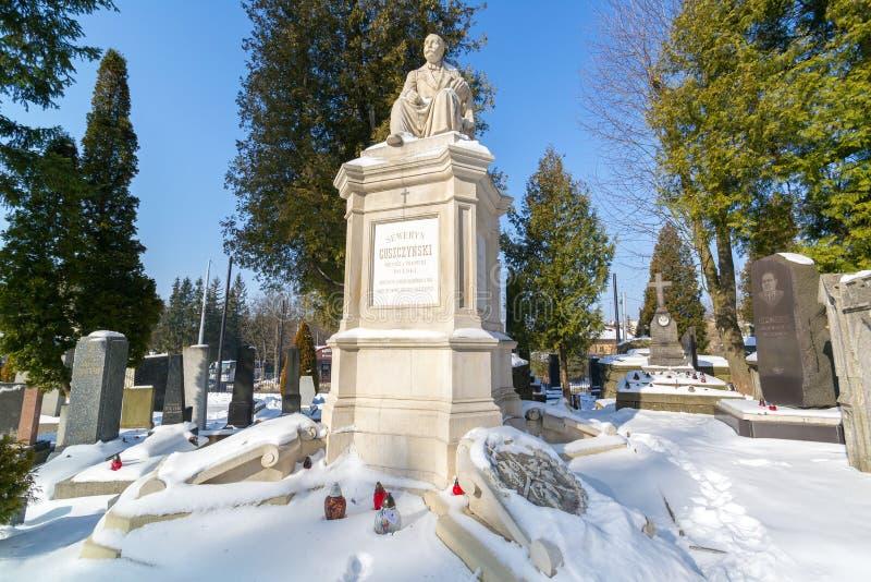 LVIV UKRAINA, Feb, - 14, 2017: Stara statua na grób w Lychakivskyj cmentarzu Lviv, Ukraina Oficjalnie stanu kult i historia fotografia royalty free