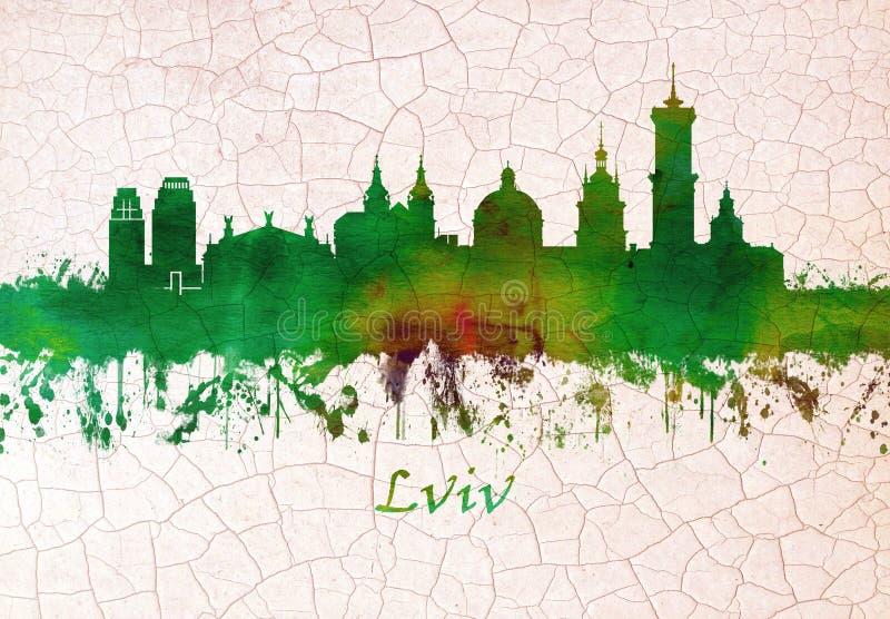 Lviv Ukraina horisont stock illustrationer