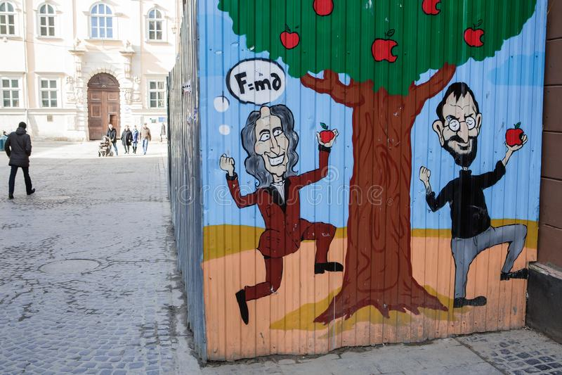 Lviv, UKRAINA, Luty 27, 2017: graffiti w Lviv fotografia stock