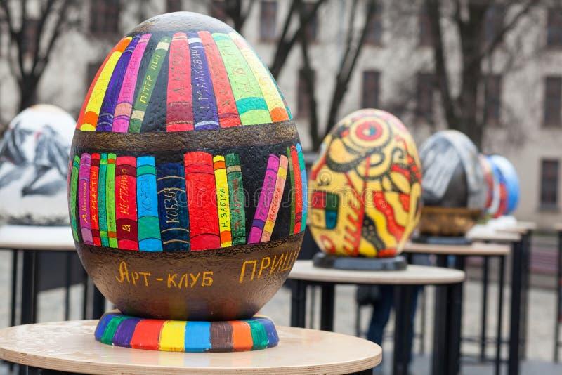Lviv Ukraina - mars 29, 2018 Påskfestival i Lviv royaltyfri bild