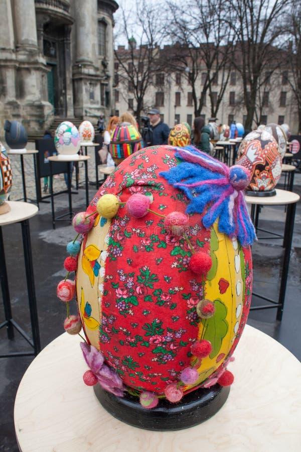Lviv Ukraina - mars 29, 2018 Påskfestival i Lviv arkivfoton