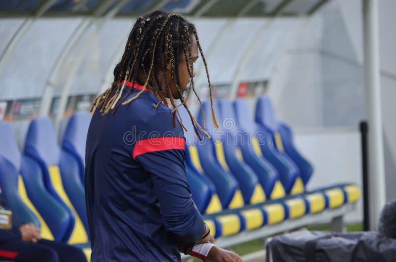 LVIV UKRAINA - SEPTEMBER 29: Alan i handling under UEFA-europaen Le arkivbilder