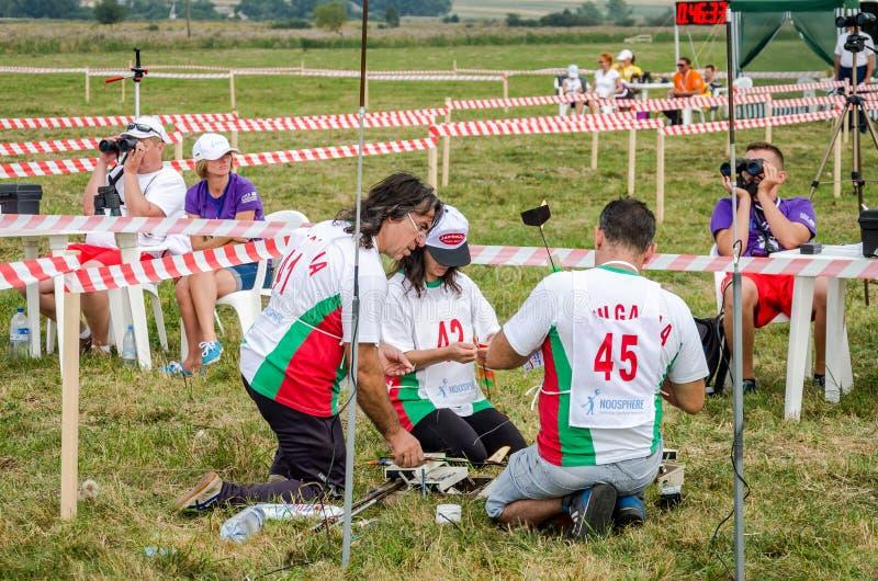 Lviv, Ukraine - August 2015: FAI European championships for space models 2015. Bulgarian team members preparing to launch a model stock photo