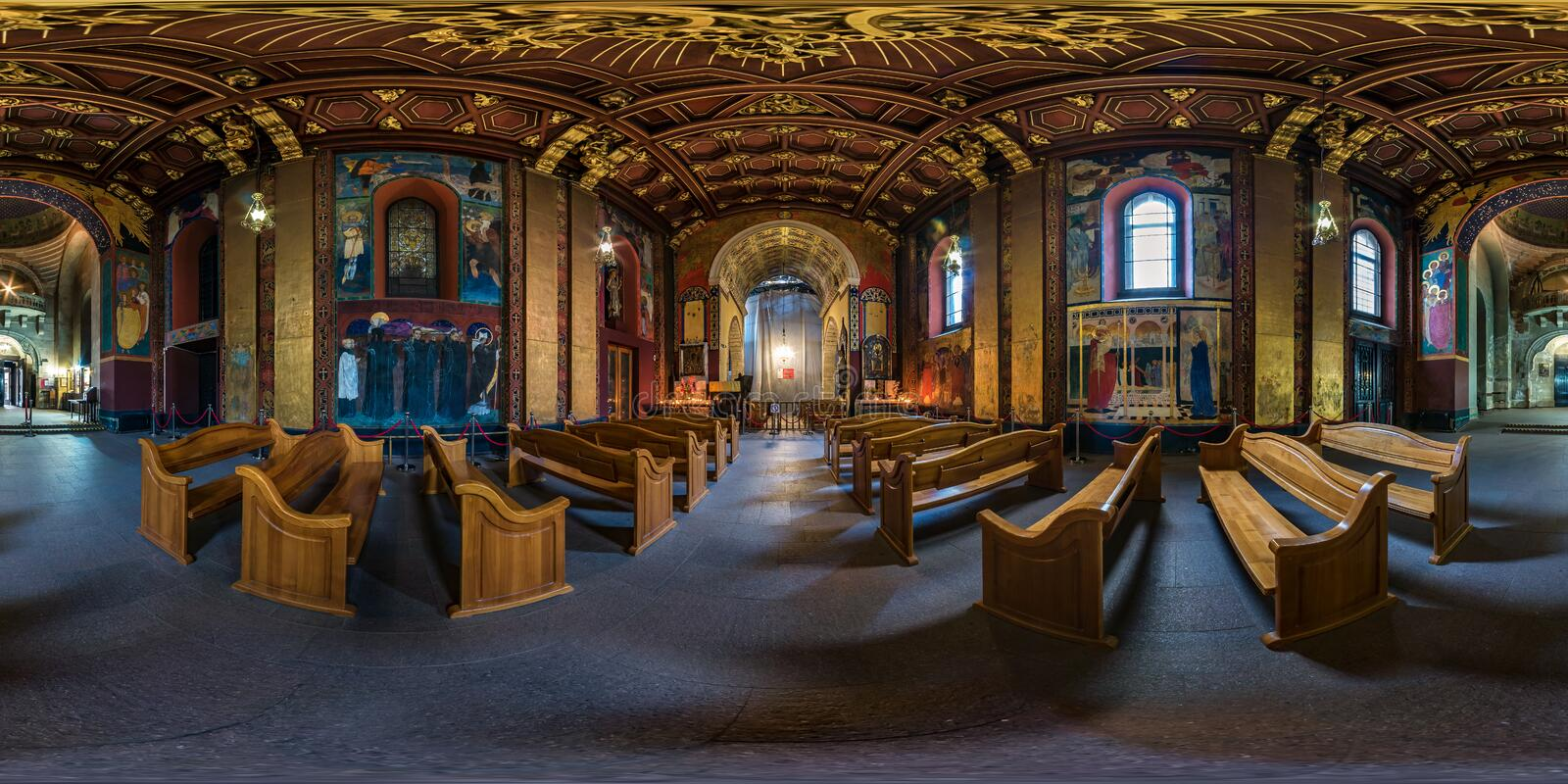 LVIV, UKRAINE - AUGUST 2019: Full spherical seamless hdri panorama 360 degrees inside interior of old Armenian church in. Equirectangular projection, VR AR stock photography