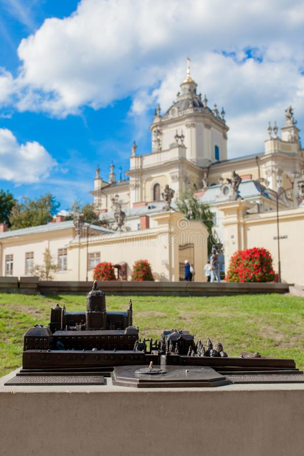 Lviv, Ukraine - August 18, 2019: layout for the blind St. George`s Cathedral is a baroque-rococo cathedral located in the city of stock photo