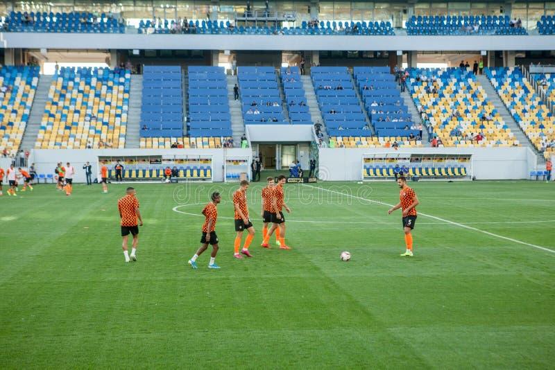 Lviv, UKRAINE - August 18, 2019: Pre-match training session players Shakhtar during the Ukrainian Championship match between stock photo