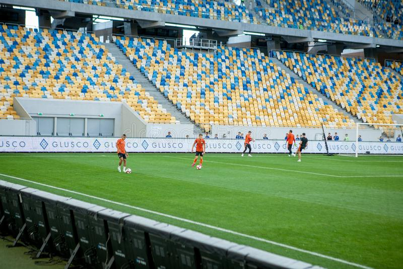 Lviv, UKRAINE - August 18, 2019: Pre-match training session players Shakhtar during the Ukrainian Championship match between stock image
