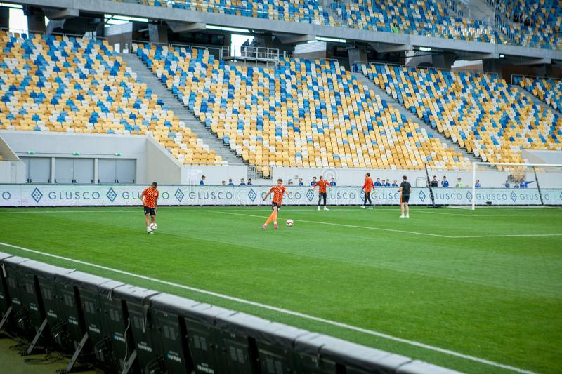 Lviv, UKRAINE - August 18, 2019: Pre-match training session players Shakhtar during the Ukrainian Championship match between royalty free stock photos