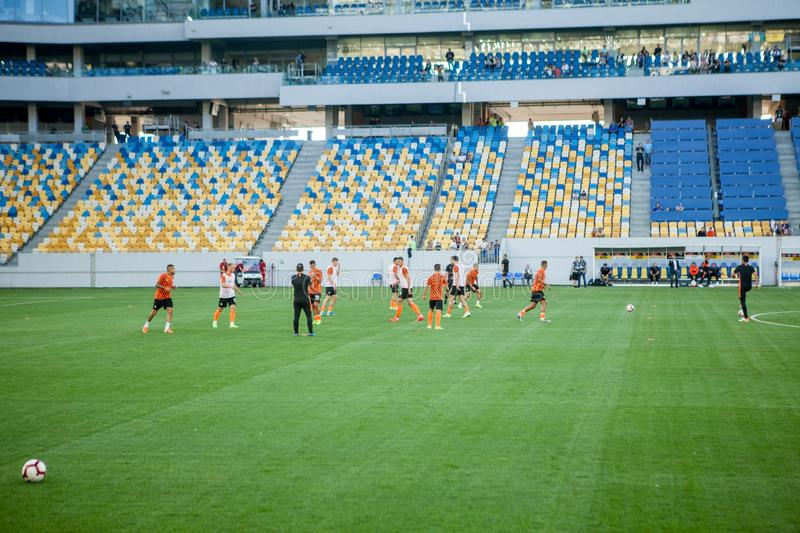Lviv, UKRAINE - August 18, 2019: Pre-match training session players Shakhtar during the Ukrainian Championship match between royalty free stock image