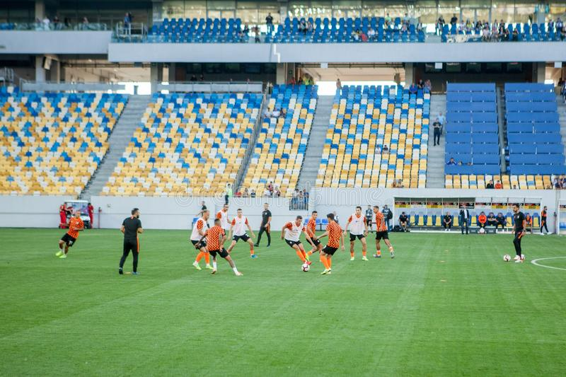 Lviv, UKRAINE - August 18, 2019: Pre-match training session players Shakhtar during the Ukrainian Championship match between stock images