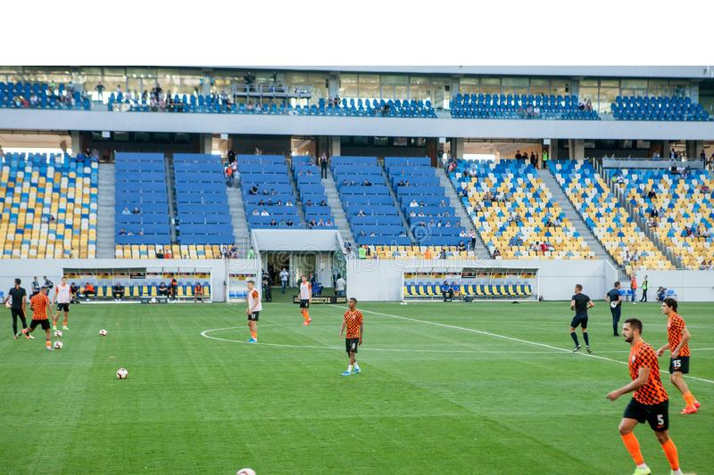 Lviv, UKRAINE - August 18, 2019: Pre-match training session players Shakhtar during the Ukrainian Championship match between royalty free stock images