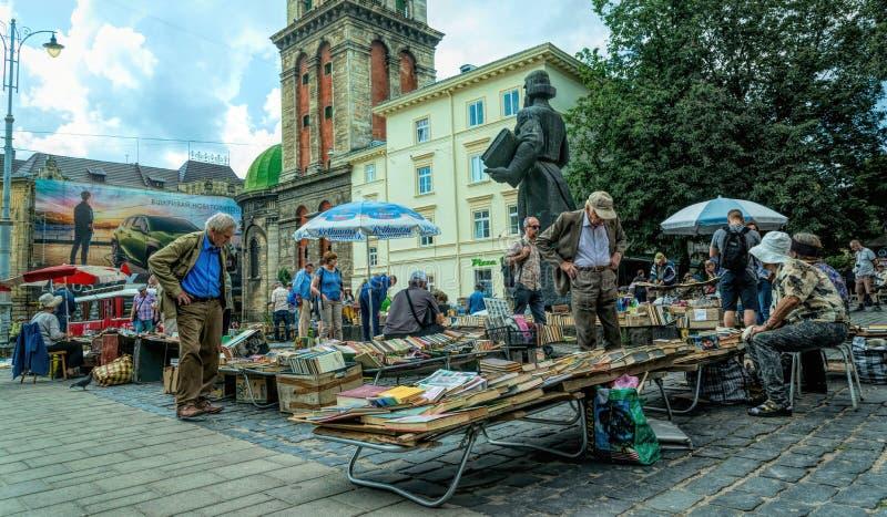Ancient flea book market in the city of Lviv, Ukraine royalty free stock photo