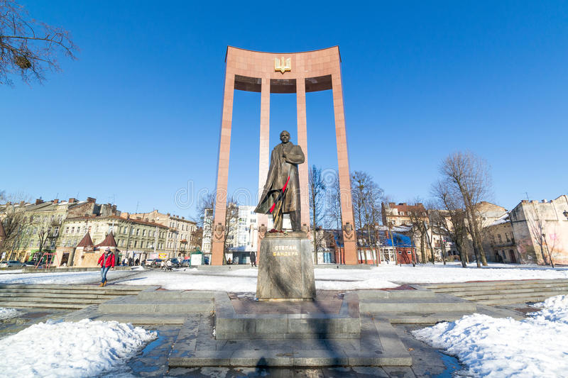 LVIV, UKRAINE - Feb 14, 2017: Monument to the leader of the Ukrainian nationalist and independence movement Stepan Bandera, Lviv, stock photo