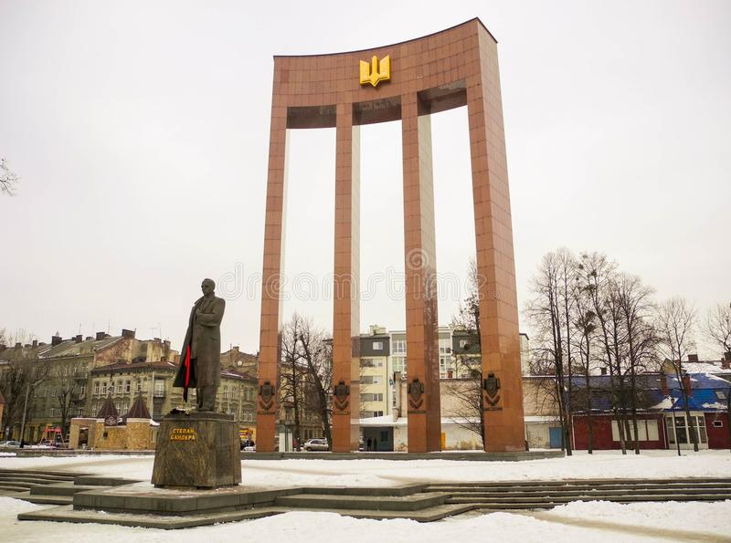 Monument to Stepan Bandera. stock photography