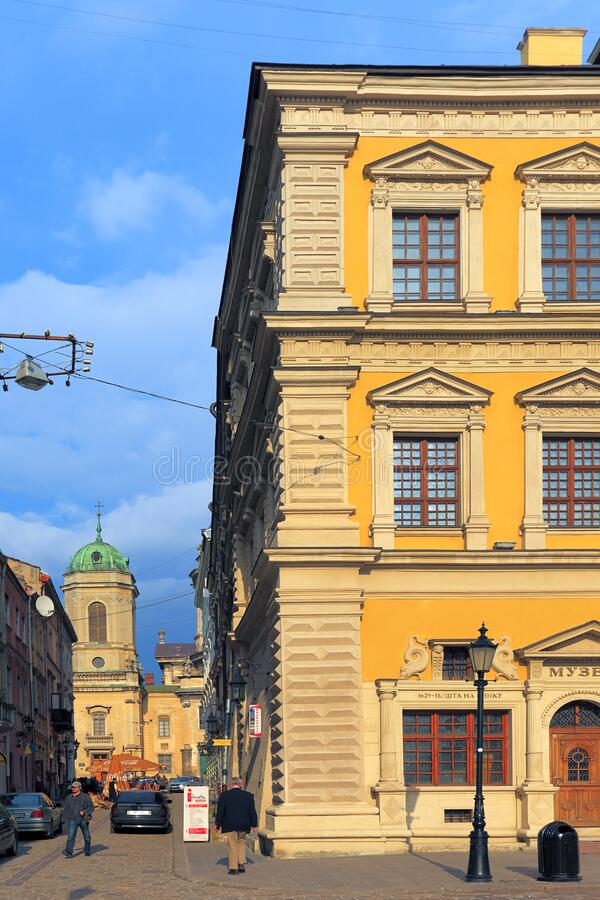 Lviv, Ukraine - historic city center, Old Town quarter and Market Square with Museum Square and Dominican church and monastery in. Lviv, Lviv Oblast / Ukraine stock photography