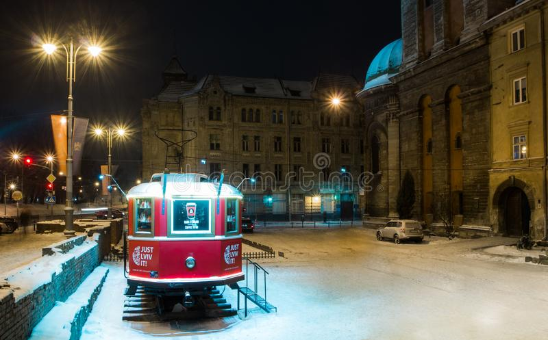 Lviv in the night at winter royalty free stock image