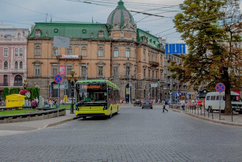 LVIV, UKRAINE - JULY 26 - City trolleybus in the city center of Lviv stock images