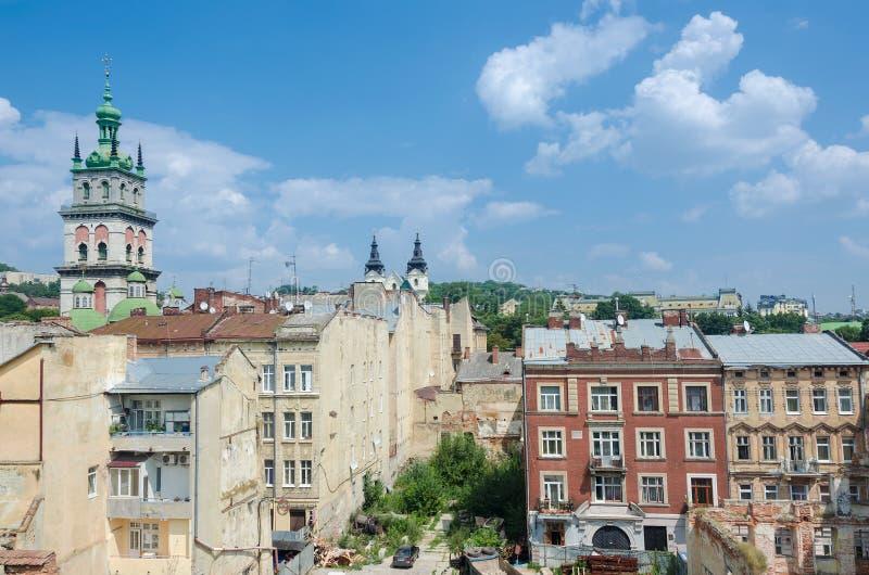 LVIV, UKRAINE - July 26, 2016: City view of Lviv stock images