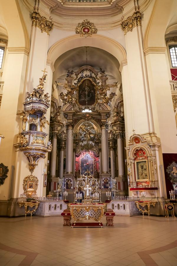 Inside of St. Georges Cathedral in Lviv City. LVIV, UKRAINE - JULY 11, 2018: Inside of St. Georges Cathedral in Lviv City royalty free stock photography