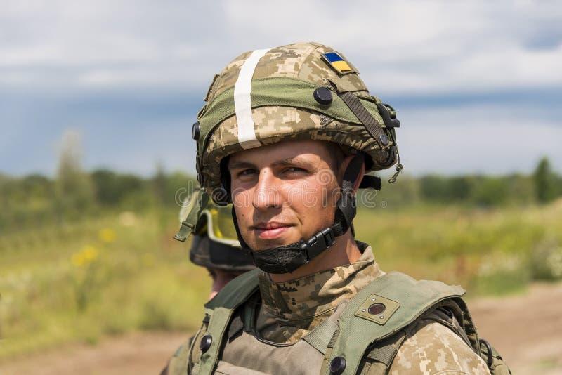 Ukrainian commando rests after training fight stock photo
