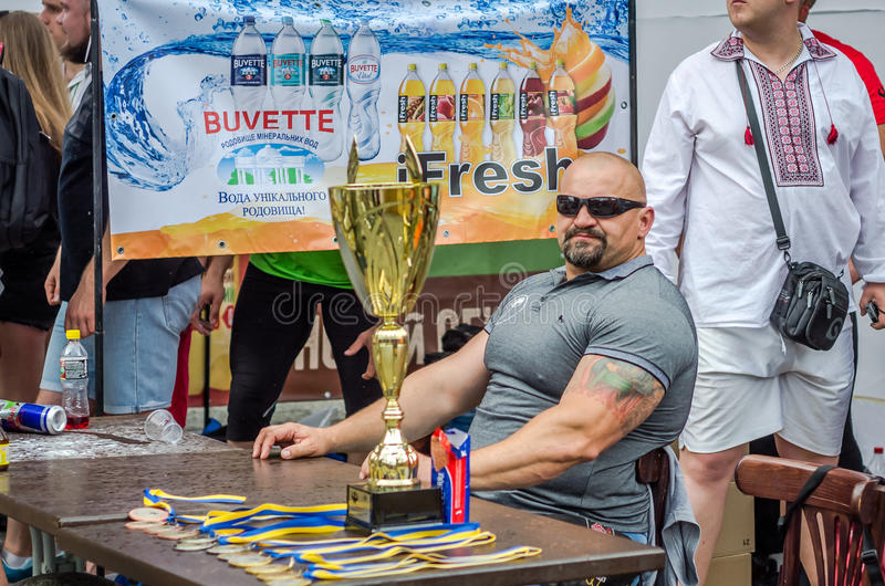 LVIV, UKRAINE - JUNE 2016: The strongest man in the world bodybuilder and athlete Vasyl Virastjuk. The strongest man in the world bodybuilder and athlete Vasyl stock image
