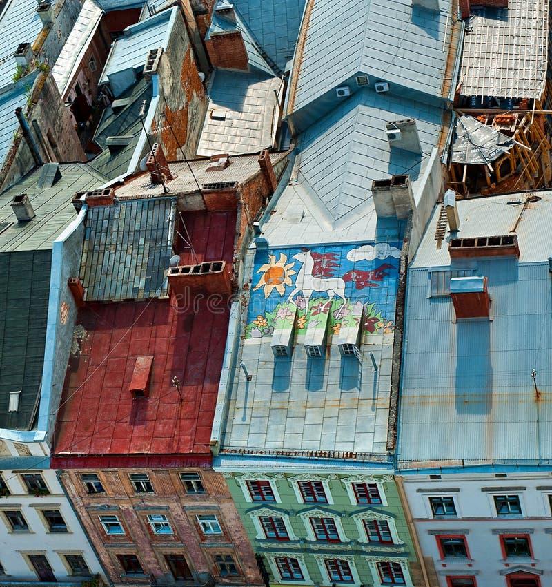 LVIV UKRAINE - 6 MAI 2012 : Vue supérieure de ville hôtel de Lviv images stock
