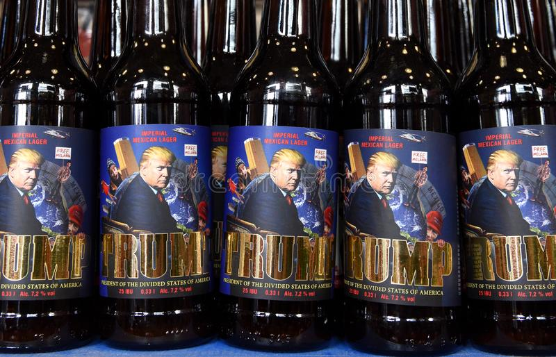 Lviv, Ukraine - May 20, 2017: A bottles of beer featuring US President Donald Trump called 'Trump' and written. Lviv, Ukraine - May 20, 2017: A bottles of beer stock photography