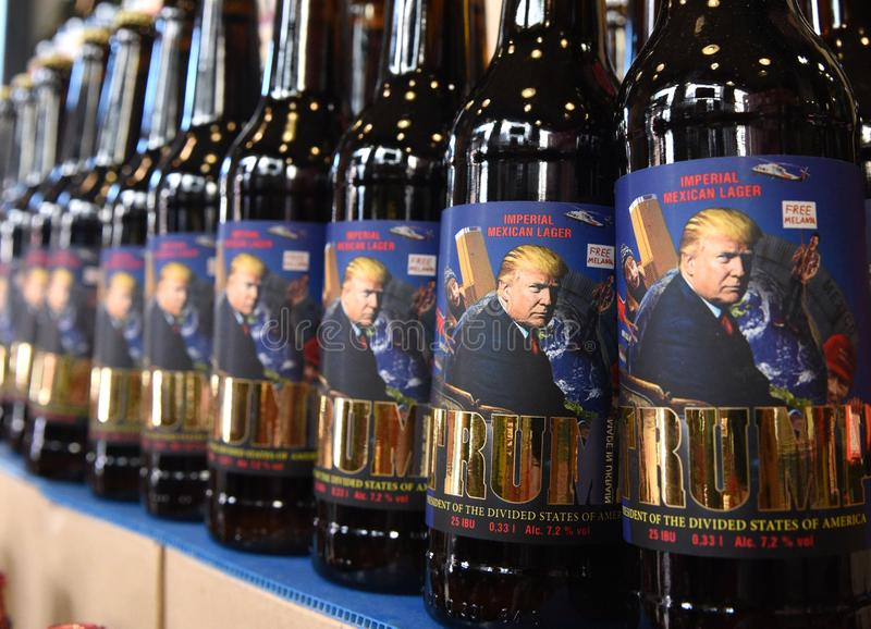 Lviv, Ukraine - May 20, 2017: A bottles of beer featuring US President Donald Trump called 'Trump' and written. Lviv, Ukraine - May 20, 2017: A bottles of beer stock image