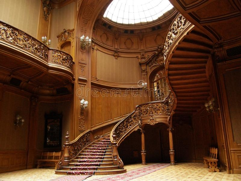 LVIV, UKRAINE - MAY 1: A carved wooden staircase in ancient casino on May 1, 2010 in Lviv, Ukraine stock photo
