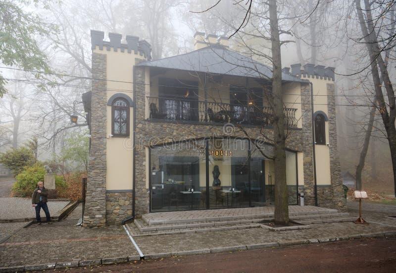 LVIV, UKRAINE - NOVEMBER 9, 2019: cafe on a city street royalty free stock photos