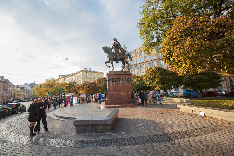 Lviv, Ukraine - October 18, 2015: Citizens and tourists in the square. Near the monument to Daniel of Galicia stock image
