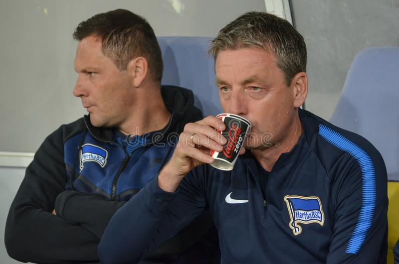 LVIV, UKRAINE - October 19, 2017: Coach Pal Dardai (L)during the. UEFA Europa League match between Zorya Luhansk vs Hertha BSC (Germany), Ukraine stock image