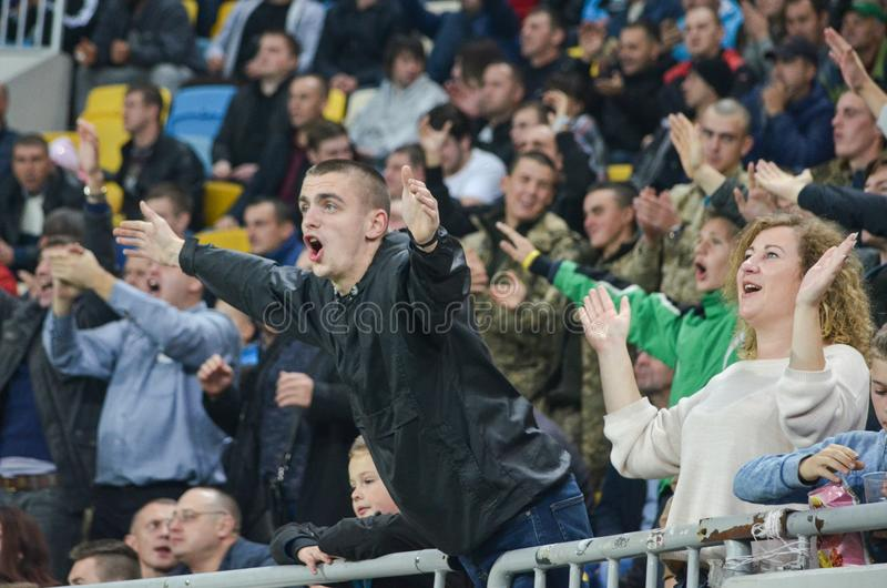 LVIV, UKRAINE - October 19, 2017: Fans happy and apploud during. The UEFA Europa League match between Zorya Luhansk vs Hertha BSC (Germany), Ukraine stock image