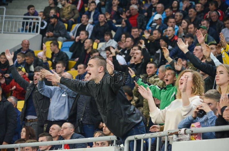 LVIV, UKRAINE - October 19, 2017: Fans happy and apploud during. The UEFA Europa League match between Zorya Luhansk vs Hertha BSC (Germany), Ukraine stock images