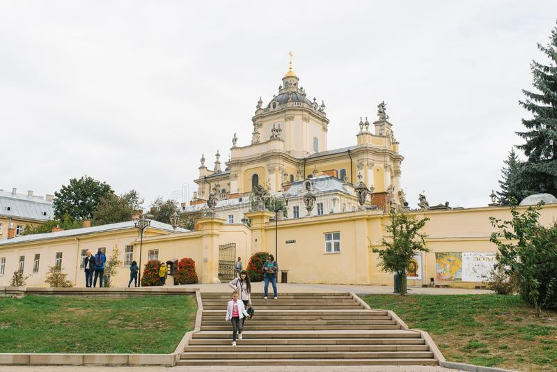 Lviv, Ukraine. Old beautiful St. George`s Cathedral stock images