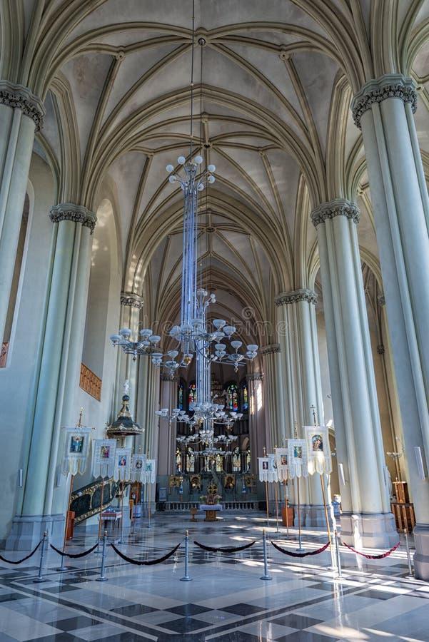 LVIV, UKRAINE - SEPTEMBER 12, 2016: Lviv City With Church of St. Olha and Elizabeth Interior stock images