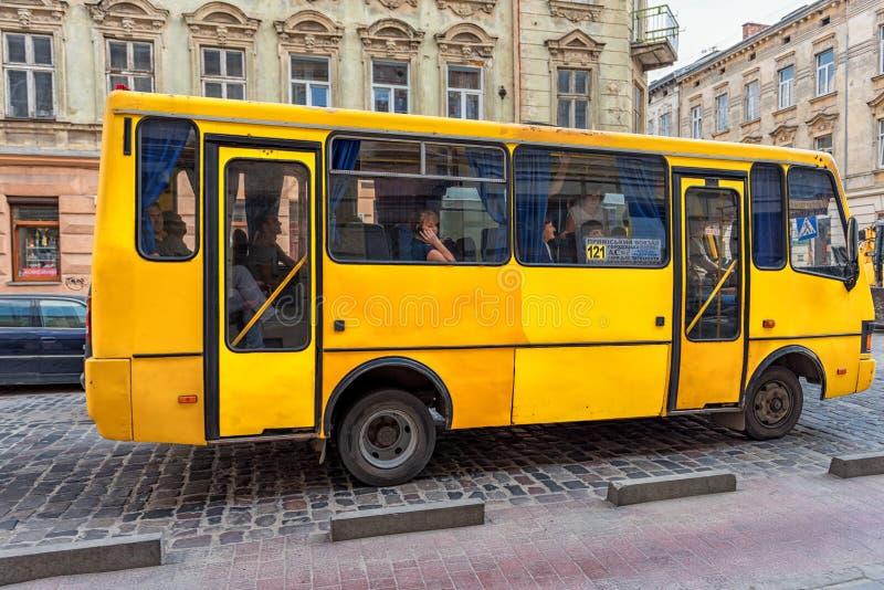 LVIV, UKRAINE - SEPTEMBER 09, 2016: Lviv Public Transport, Local Bus. Ukraine. royalty free stock photo