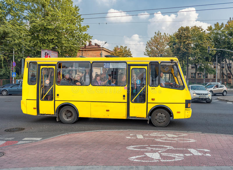LVIV, UKRAINE - SEPTEMBER 09, 2016: Lviv Public Transport, Local Bus. Ukraine. stock images