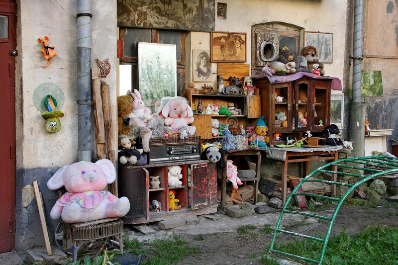 LVIV, Ukraine - SEPTEMBER 28, 2014: The yard of lost toys in Lviv is an open-air museum stock photos