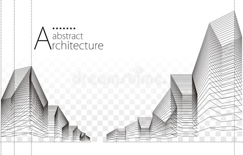 3D illustration Abstract Architecture Construction Background. stock photos