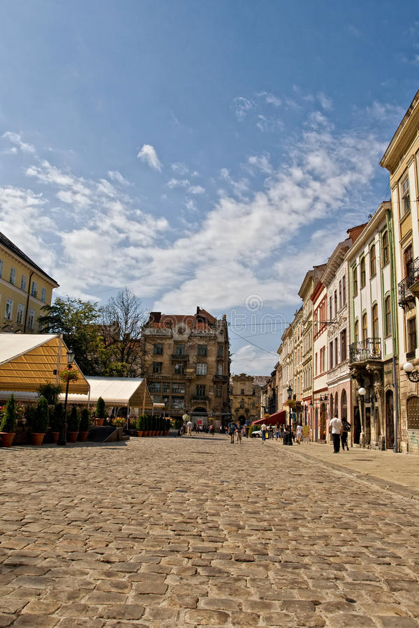 lvov οι παλαιές οδοί στοκ εικόνα με δικαίωμα ελεύθερης χρήσης