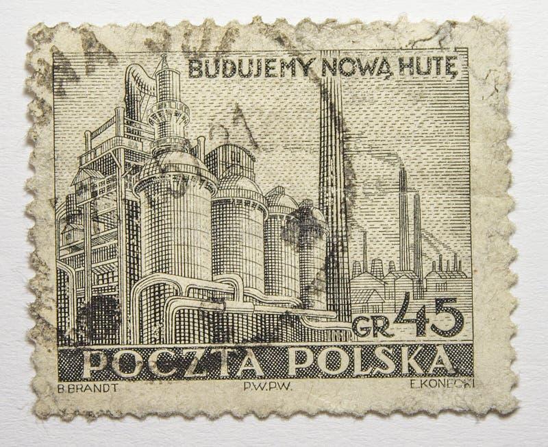 Lvov, Украина, 07 05 2017 Стальные изделия Nowa Huta Польша 1951 индустрии штемпеля стоковая фотография rf