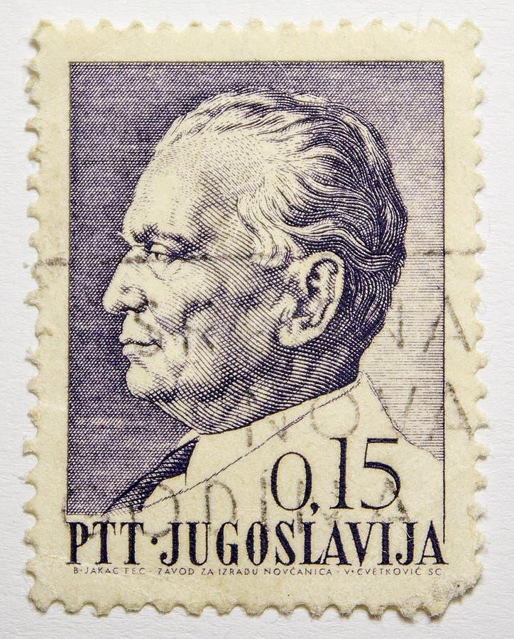 Lvov, Украина, 07 05 2017 Josip Broz Tito на винтажном штемпеле, Jugoslavija стоковые изображения rf