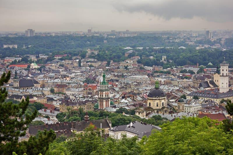 Lvov-Ansicht von oben stockbild