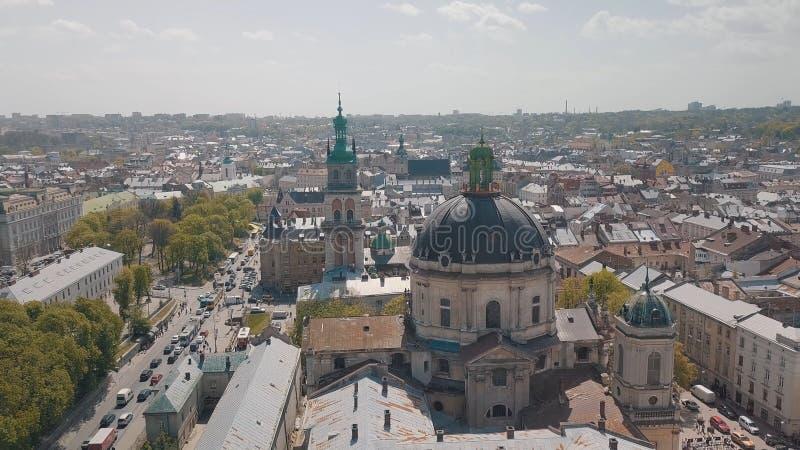 Lvov Ukraina Flyg- stad Lviv, Ukraina gammal panoramatown dominikan arkivbild