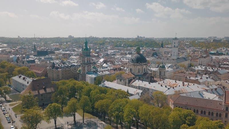 Lvov, Ukraina Powietrzny miasto Lviv, Ukraina panoramy stary miasteczko _ zdjęcia royalty free