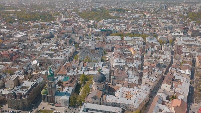 Lvov, Ukraina Powietrzny miasto Lviv, Ukraina panoramy stary miasteczko _ obraz stock